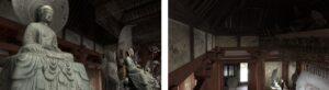 (左)金堂の内部空間を臨場感あふれるVRで再現 (右)鮮やかな天蓋の装飾
